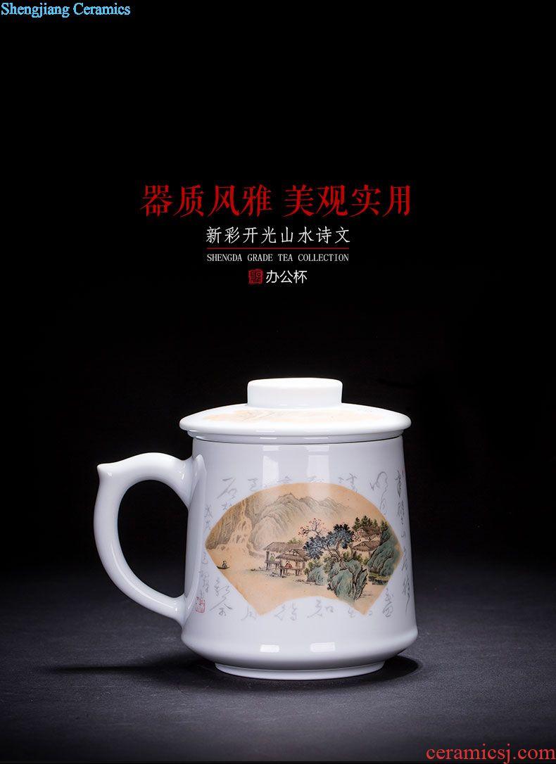 Holy big ceramic curios teacups hand-painted color ink alum red paint five bats pattern master cup jingdezhen kung fu tea set