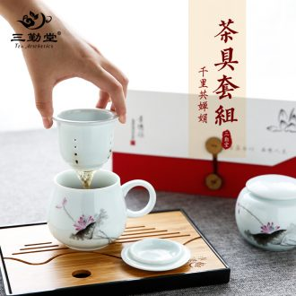 The three frequently tureen suit household sample tea cup of jingdezhen ceramic hand-painted kung fu tea set S13006 blue tie up branches