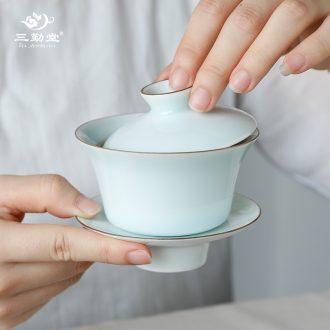 Three frequently hall sweet white glazed white porcelain tea holder of jingdezhen ceramic tea set good ink falbala tea is the tea lifter S01029
