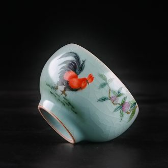TaoXiChuan jingdezhen ru kiln owners one cup of pure manual open piece of hand-painted teacup personal single cup for her personality customization