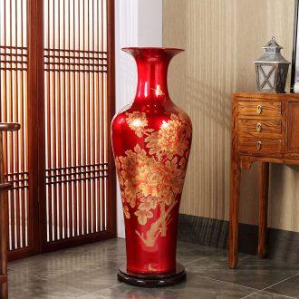 Jingdezhen ceramics grinding of large vase peony modern home sitting room hotel decoration furnishing articles