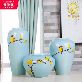 Jingdezhen ceramic hand-painted vases, three-piece suit of new Chinese style living room furnishing articles wine handicraft decorative household items