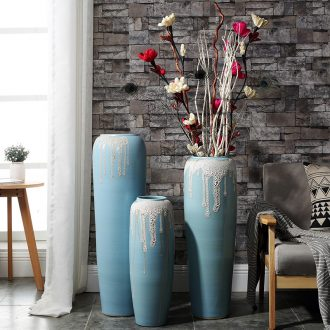 Sitting room ground high dry flower vases, flower adornment Nordic household act the role ofing is tasted lucky bamboo blue ceramic furnishing articles