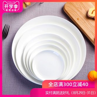 Pure white bone porcelain of jingdezhen ceramic tableware son dish dish dish cold dish dish of large plate beefsteak cutlery tray
