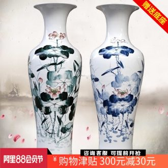 Hand-painted ink color blue and red lotus lotus fish landing big vase jingdezhen ceramic household sitting room adornment furnishing articles