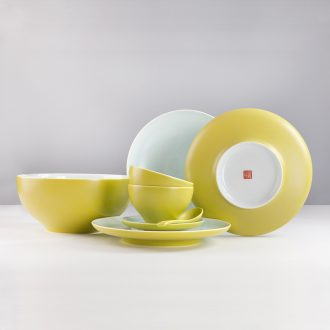 JingDe clouds in cloud & middot; Set of mat glaze meal is jingdezhen high temperature inferior smooth color glaze 3 6 meals