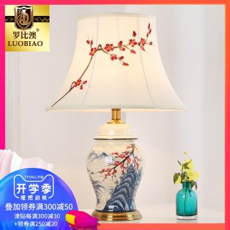Adjustable desk lamp of bedroom the head of a bed lamp creative romantic warm light new Chinese style is contracted and contemporary sitting room luxury ceramic lamp