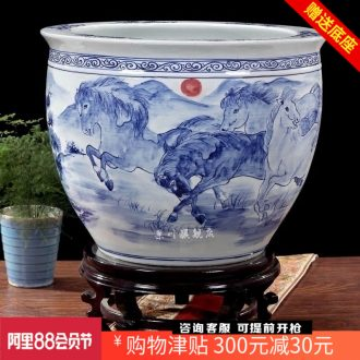 Hand-painted brocade carp goldfish bowl of blue and white porcelain of jingdezhen ceramics water lily scroll the tortoise cylinder decorated home furnishing articles