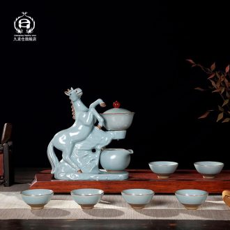DH jingdezhen ceramic semi-automatic kung fu tea set on home office lazy tea bags are suit your kiln