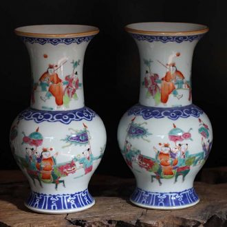 Shallow fall color porcelain flower vase with colorful characters of the republic of China vase of antique porcelain vase of my ears