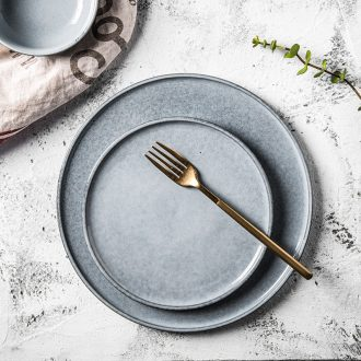 Million jia home 0 flat the Nordic ceramic platter creative contracted circular plate of beefsteak plate spot than blue