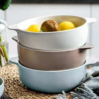 Nordic ears bowl of creative personality home lovely students eat instant soup bowl large ceramic fruit bowl rainbow noodle bowl of soup basin
