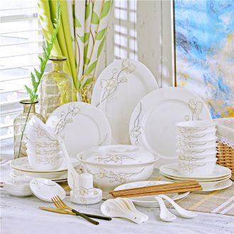 Dishes suit 56 head of jingdezhen ceramic tableware suit bowl chopsticks dishes household ceramics Chinese dishes