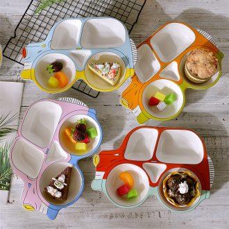 Baby car plates children tableware ceramics creative FanPan cartoon fruit dish bowl household space frame plate