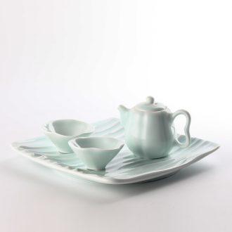 TaoXiChuan jingdezhen ceramic film blue pumpkin pot home a whole set of kung fu tea set sample tea cup
