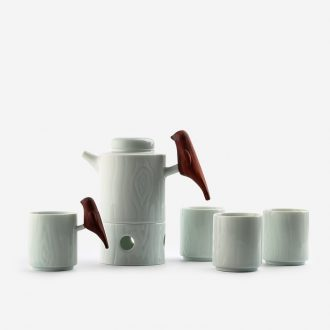 Creative TaoXiChuan jingdezhen ceramic tea set suit contemporary and contracted solid wood bluebird language floral cup teapot