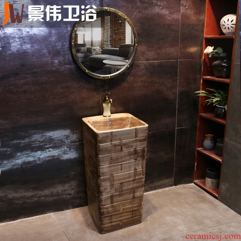 JingWei art pillar basin integrated ceramic lavatory floor archaize basin of wash one brick industry wind restoring ancient ways