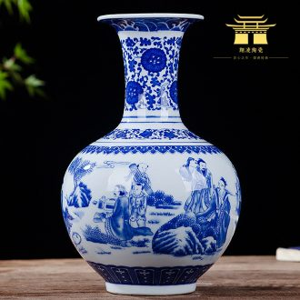 Antique vase of blue and white porcelain of jingdezhen ceramics lucky bamboo living room TV ark place Chinese style household ornaments