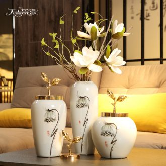 Contemporary and contracted creative ceramic vase furnishing articles living room TV cabinet table flower arranging small pure and fresh and home decoration