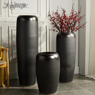 Jingdezhen ground dried flower vase restoring ancient ways is the sitting room porch villa hotel flowerpot thick some ceramic pot flower arranging furnishing articles