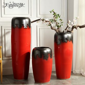 Jingdezhen ceramic hotel dry flower arranging large vases, contemporary and contracted sitting room window furnishing articles pottery flowerpot landing