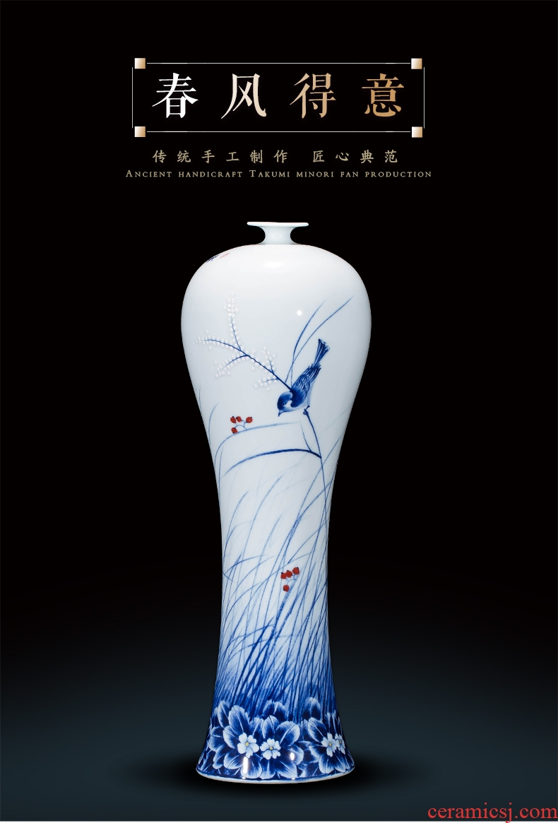 Master of jingdezhen ceramics hand-painted large blue and white porcelain vase Chinese wine porch sitting room adornment is placed