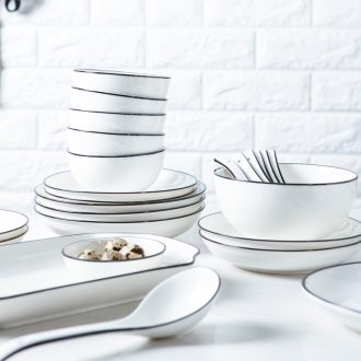The dishes suit household ceramic bowl rice bowls contracted Europe type bowl of fish dish plate can microwave jingdezhen noodles soup bowl