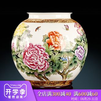 Jingdezhen ceramic furnishing articles by hand-painted powder enamel vase blooming flowers large pot of Chinese handicraft decoration in the living room