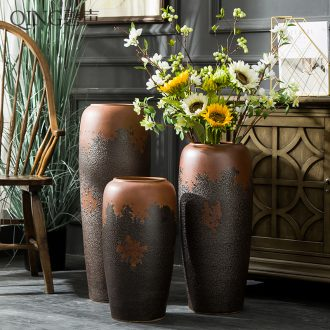 Ceramic furnishing articles of large vases, sitting room of Chinese style restoring ancient ways dried flower arranging flowers coarse pottery hotel villa pottery decoration