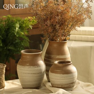 Ceramic vase retro manual coarse pottery flower arranging dried flowers sitting room place office desktop decoration porcelain suits