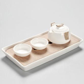 Beauty cabinet ceramic travel kung fu tea sets the trumpet tea tray household contracted Japanese tea sea crack cup hand grasp pot