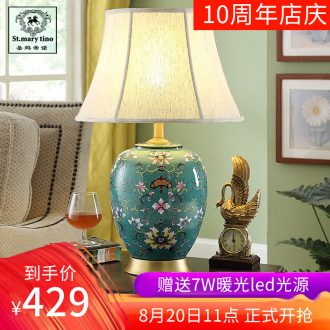 Zen new Chinese style ceramic desk lamp bedside lamp sitting room bedroom classical Chinese style decoration study atmosphere example room