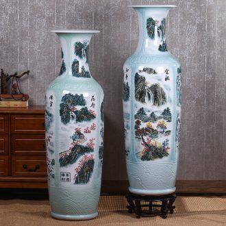 Jingdezhen ceramic large antique hand-painted blue and white porcelain vase furnishing articles furnishing articles home sitting room TV ark adornment