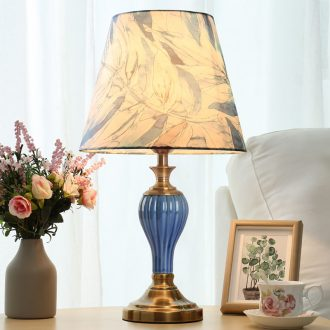 Modern American simple light ceramic desk lamp of bedroom the head of a bed new romantic warmth of remote control of household adornment lamps and lanterns