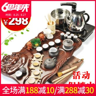 Beauty cabinet kung fu purple sand tea set home tea tray of a complete set of four unity induction cooker ceramic cups of tea is the tea ceremony