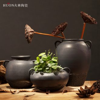 Retro thick clay pottery vases, flower POTS of jingdezhen handmade flowers, black zen Chinese style household ceramics furnishing articles