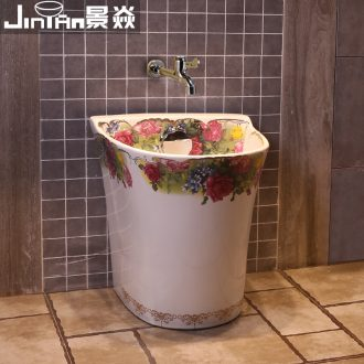 JingYan European household balcony birdbath large ceramic art wash mop pool mop pool automatic mop pool water