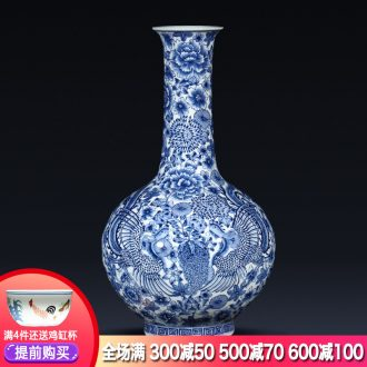Jingdezhen ceramics imitation qianlong hand-painted blue and white porcelain vases, flower arranging new Chinese style living room home furnishing articles