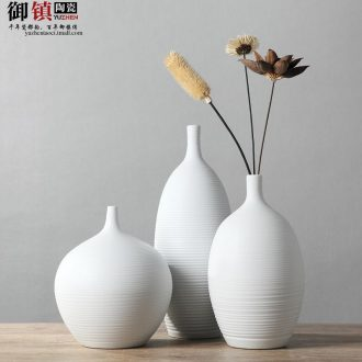 Jingdezhen creative home decorations white vase three-piece furnishing articles flower arranging, contemporary and contracted sitting room decoration