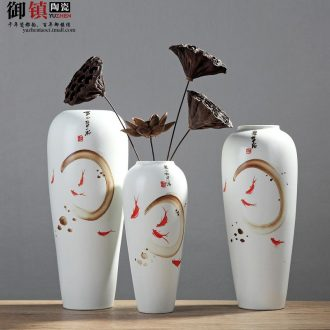 Jingdezhen Chinese wind hand-painted creative arts vase furnishing articles contemporary and contracted household soft adornment ceramic decoration