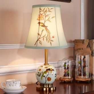 Doren American ceramic desk lamp lamp of bedroom the head of a bed the rural married Jane warm creative small desk lamp study living room