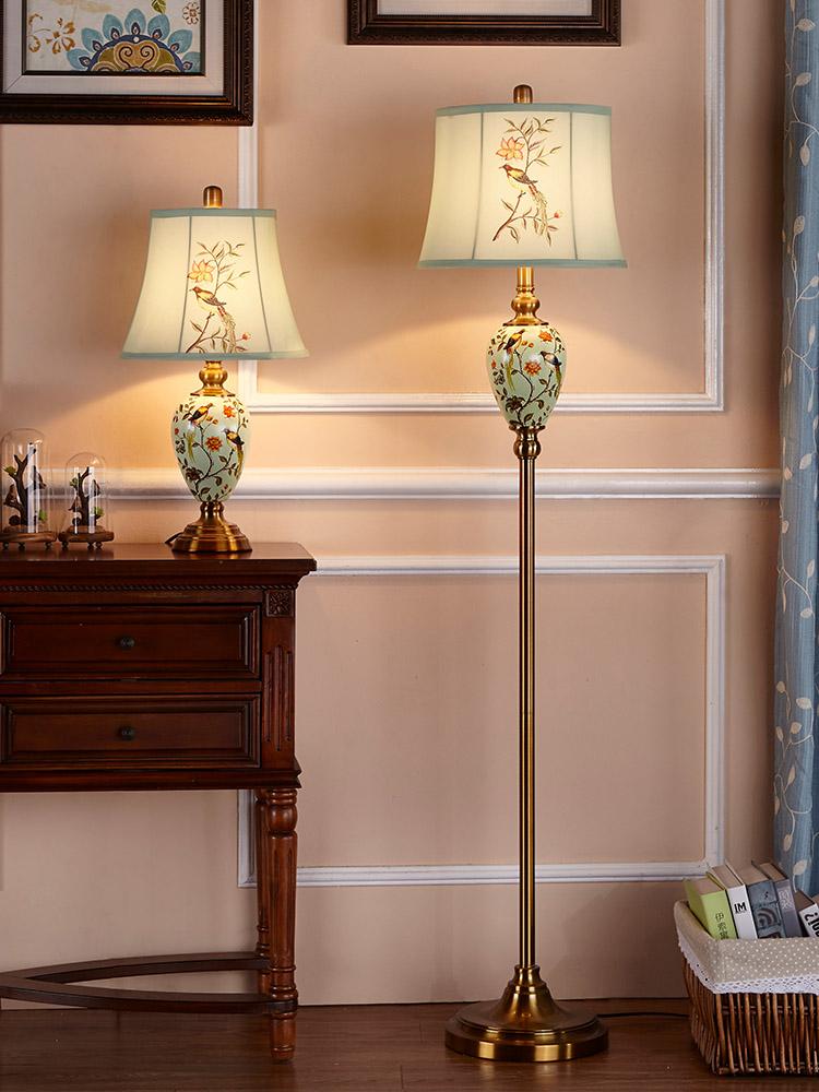 Doren American ceramic floor lamp European contemporary and contracted sitting room bedroom vertical floorlamp creative study