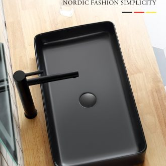 Nordic black stage basin ceramic lavabo household toilet basin sinks the minimalist art basin square