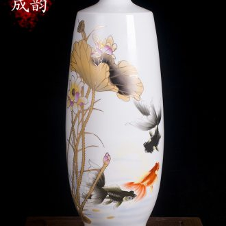 Jingdezhen ceramics vase decoration American fish put flower vases furnishing articles of new Chinese style is contemporary and contracted sitting room