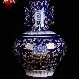 Blue and white porcelain of jingdezhen ceramics kiln retro floor decoration vase sitting room furnishing articles of Chinese style household act the role ofing is tasted