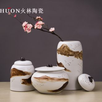 Jingdezhen manual painting original Chinese style adornment household ceramics modern living room TV ark practical furnishing articles