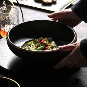 Household Japanese ceramic bowl large bowl soup bowl personality tableware creative fruit salad bowl rainbow noodle bowl