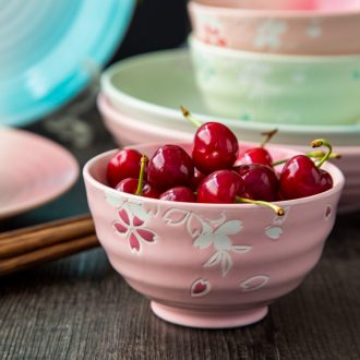 Ceramic tableware cute rice bowls rainbow noodle bowl large household eat bowl dessert Korean small bowl of soup bowl dish bowl of cherry blossoms