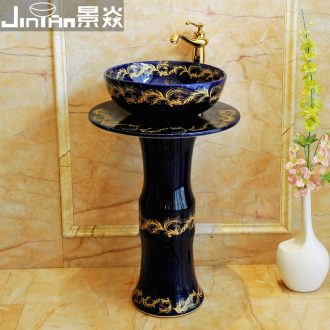 JingYan pillar of European art basin ceramic pillar type lavatory floor type basin basin vertical lavabo column
