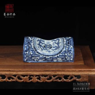 Jingdezhen hand-painted elegant high-grade ceramic pillow imitation of blue and white porcelain kiln green porcelain pillows